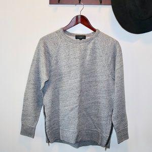 J Crew | Gray Zipper Crewneck Sweater